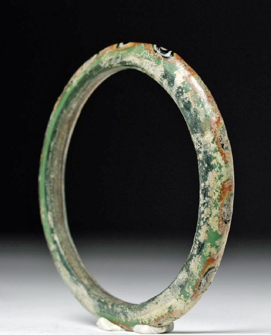 Large Byzantine Painted Green Glass Bracelet - 4