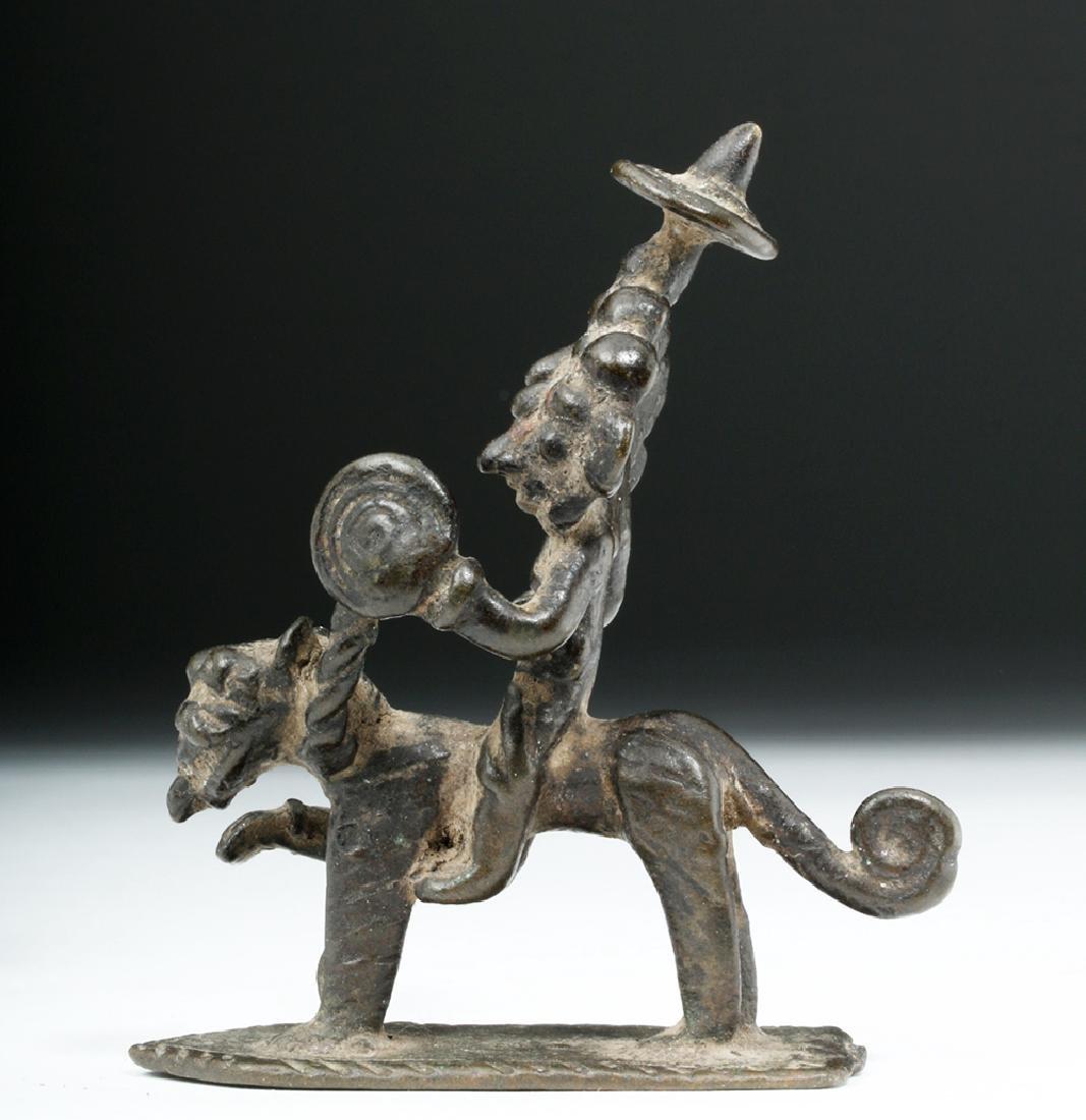 Rare 18th C. Indian Bronze Five-Headed Deity on Tiger - 2