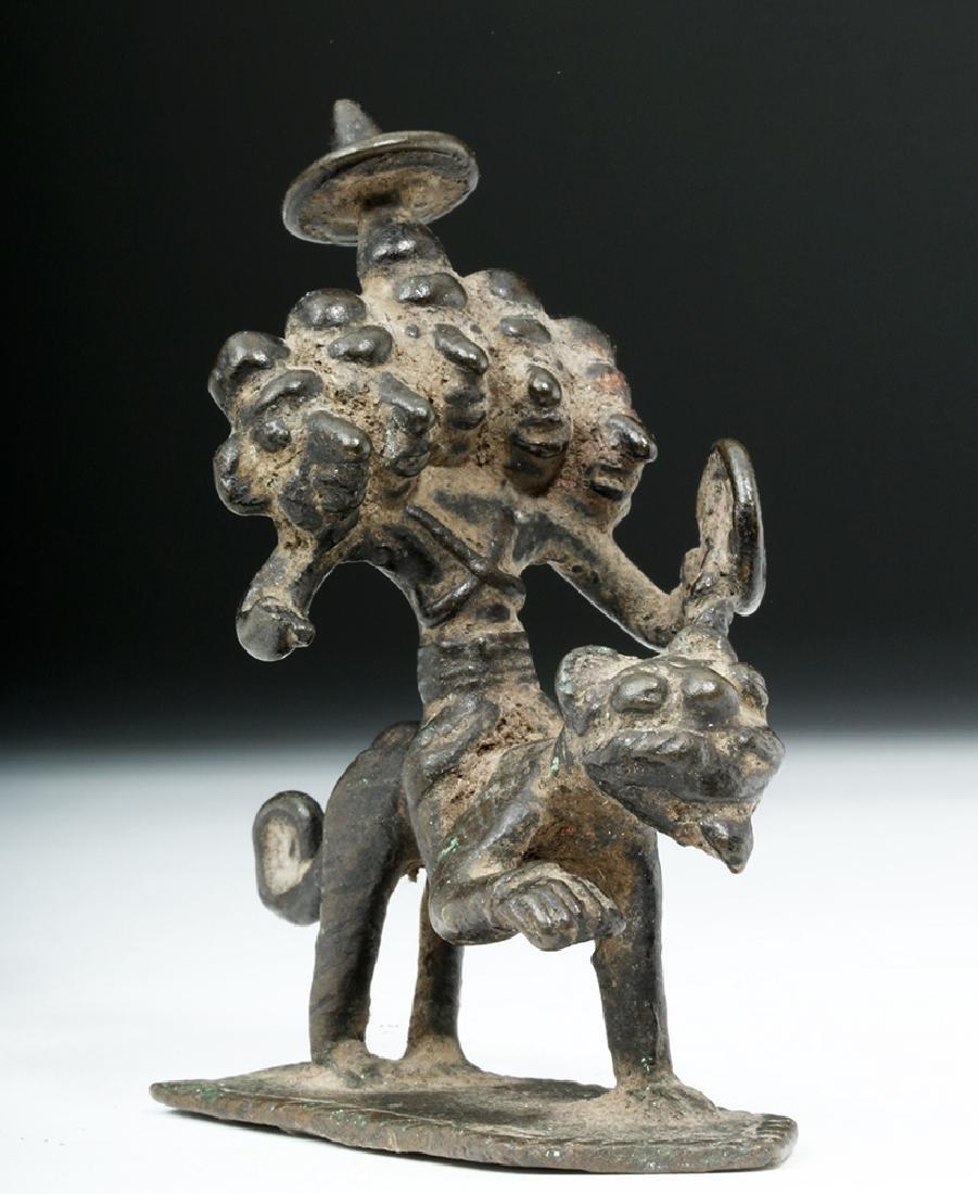 Rare 18th C. Indian Bronze Five-Headed Deity on Tiger - 5