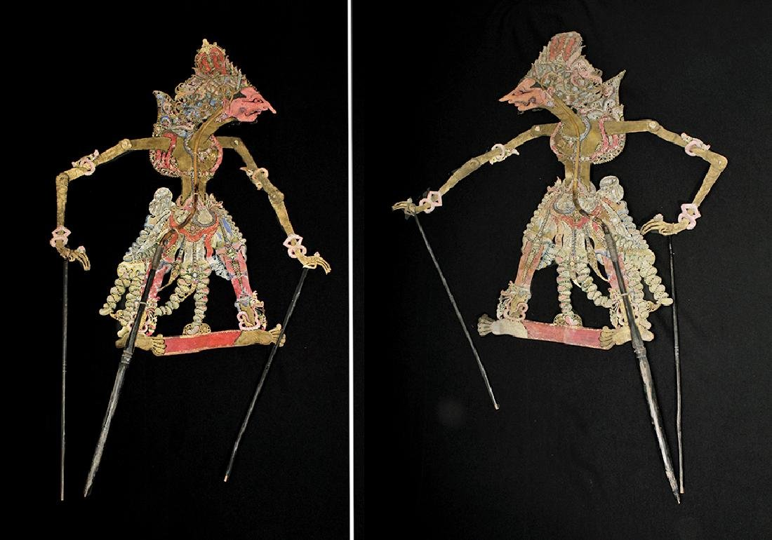 19th C. Indonesian Painted Leather Figural Puppets (11) - 5