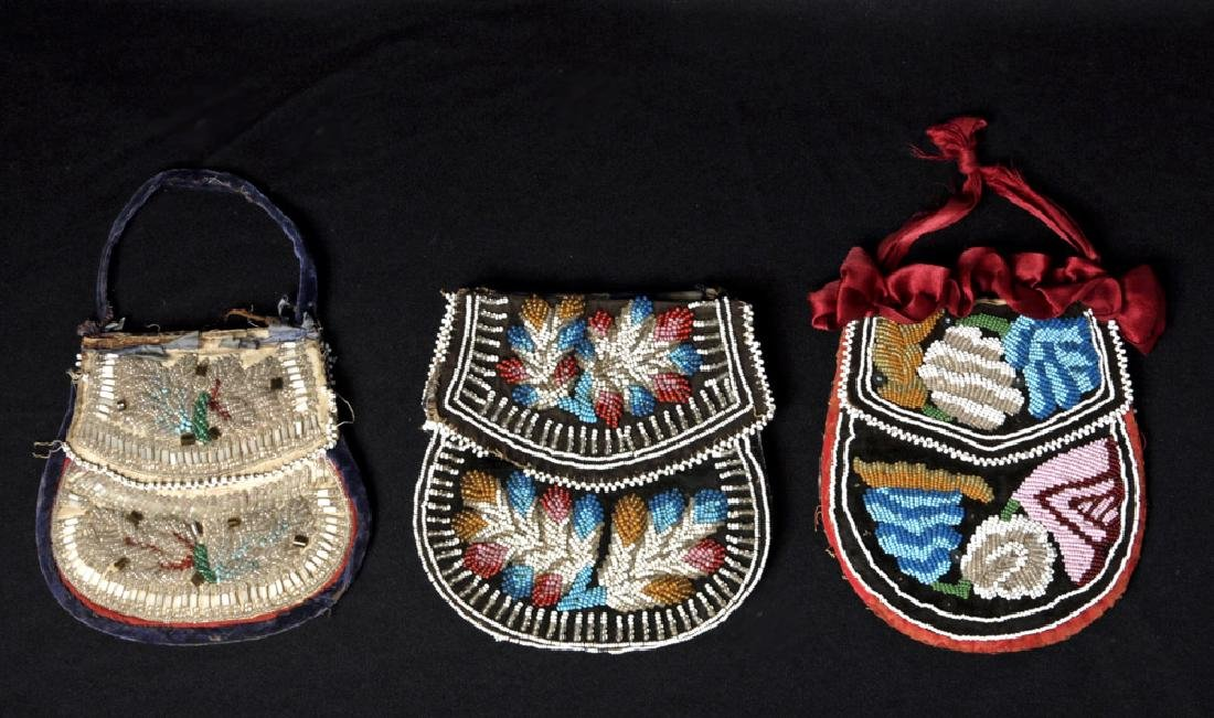 19th C. Trio Native American Iriquois Beaded Pouches