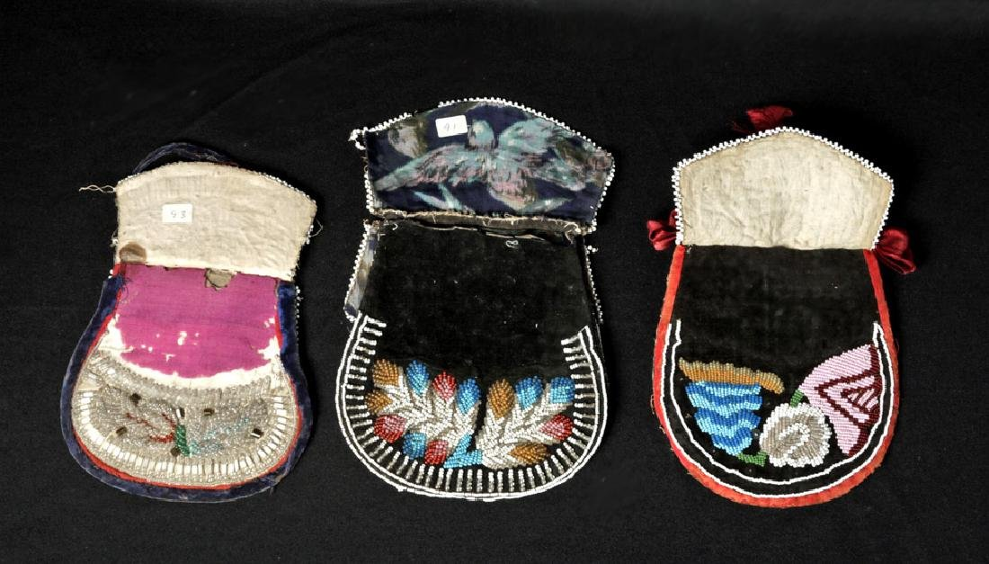 19th C. Trio Native American Iriquois Beaded Pouches - 2