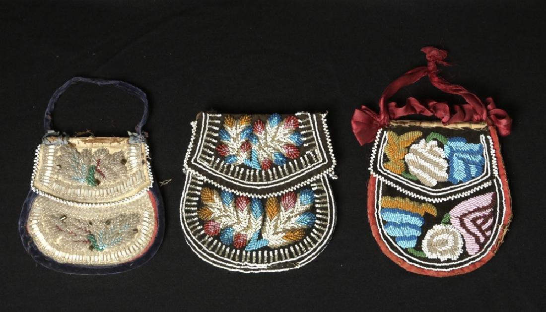 19th C. Trio Native American Iriquois Beaded Pouches - 4