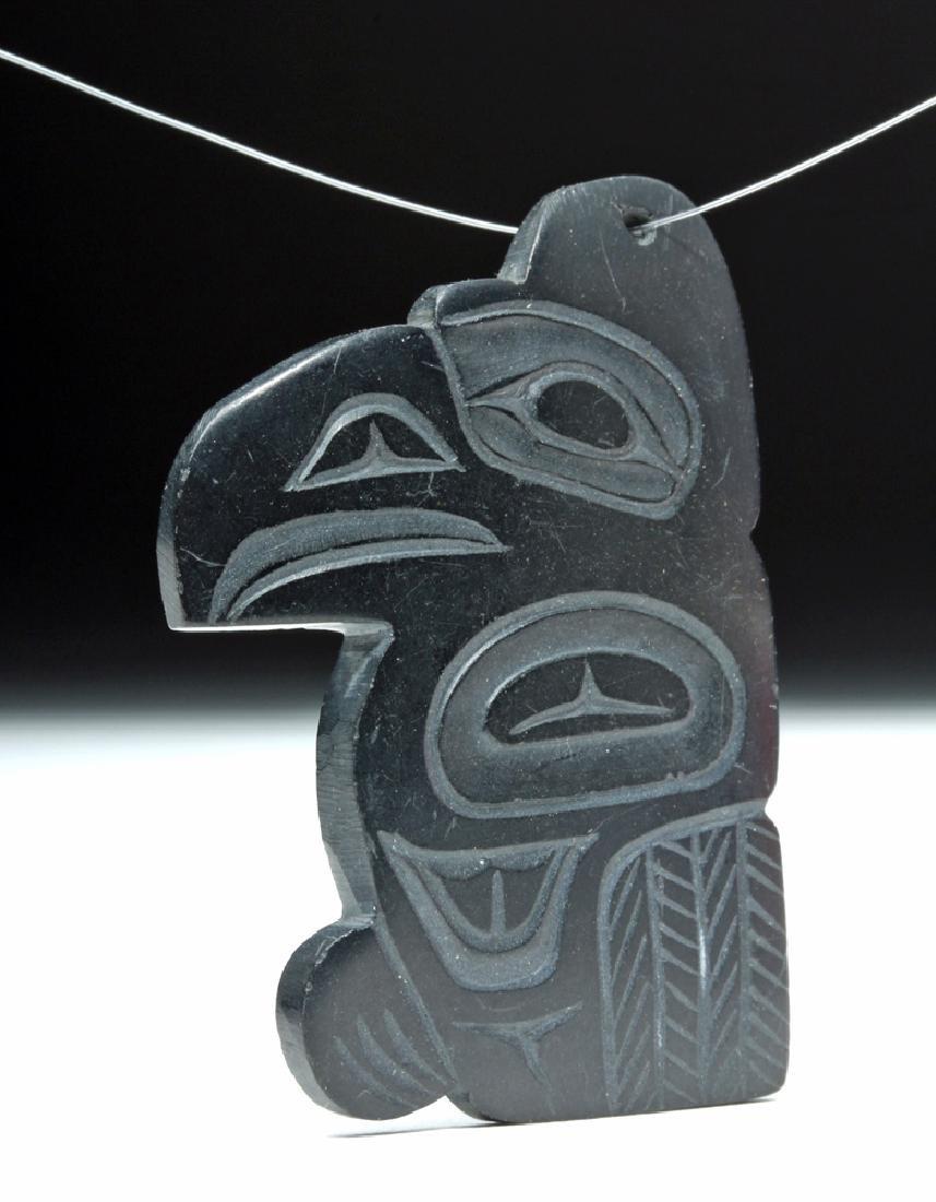 Signed 20th C. Haida Argillite Eagle Pendant