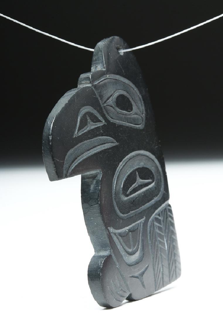 Signed 20th C. Haida Argillite Eagle Pendant - 2