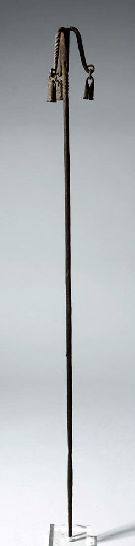 20th C. African Yoruba Iron Staff with Bells - 4