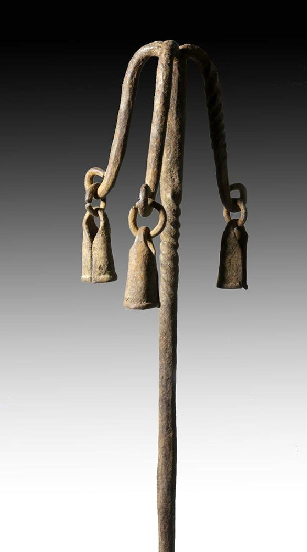 20th C. African Yoruba Iron Staff with Bells - 6