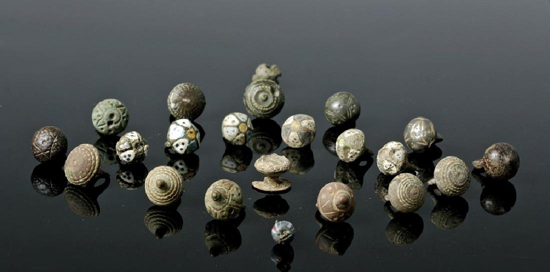 Group of 22 Viking Buttons - Bronze, Silver, Enamel
