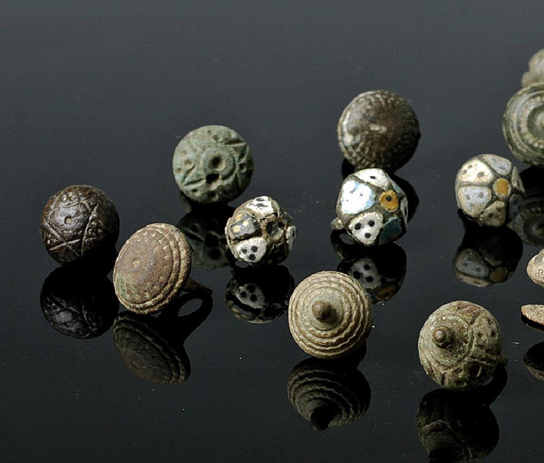 Group of 22 Viking Buttons - Bronze, Silver, Enamel - 2