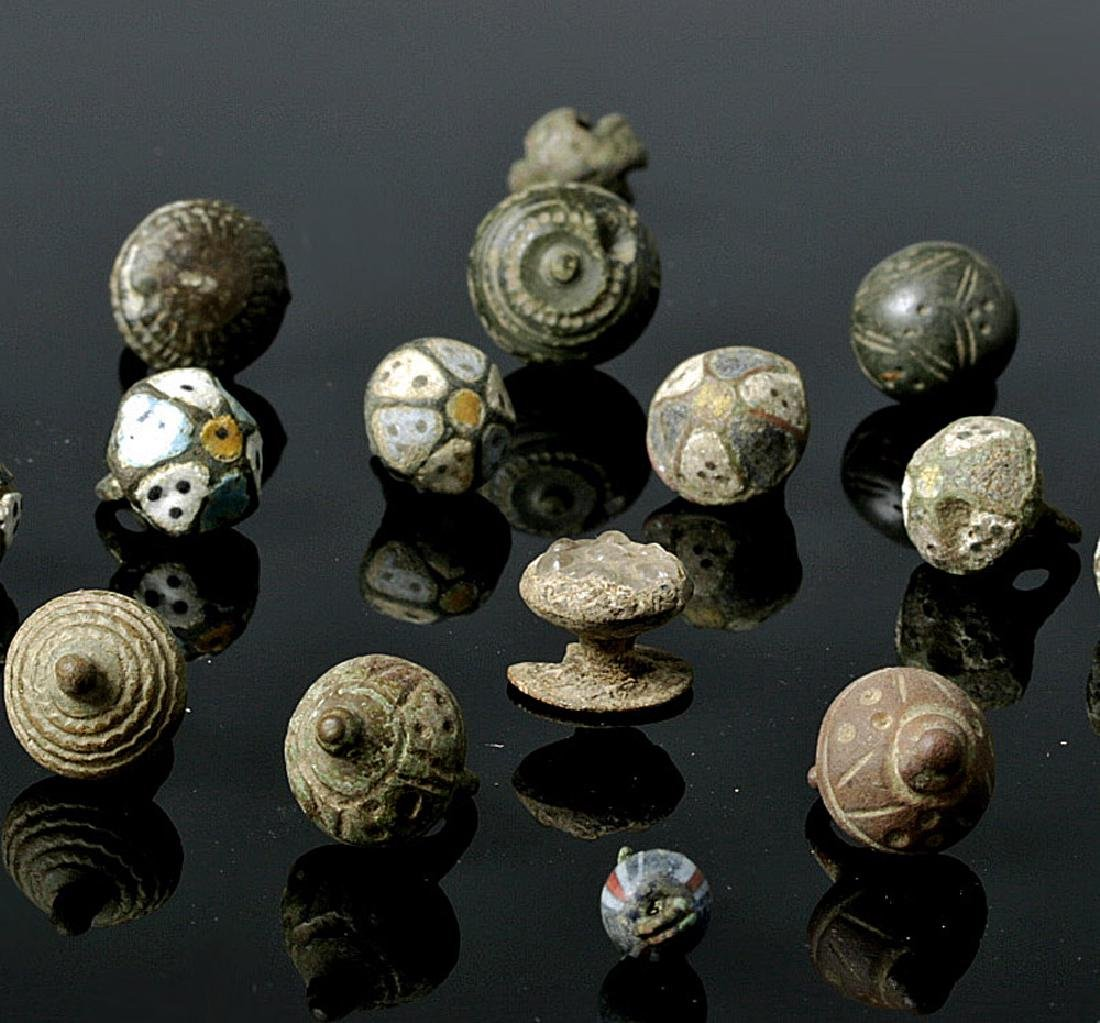 Group of 22 Viking Buttons - Bronze, Silver, Enamel - 3
