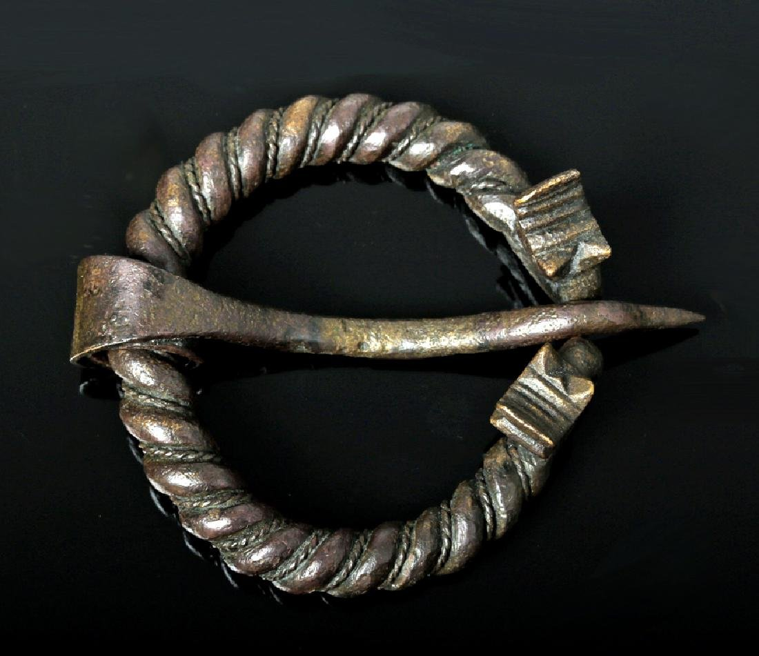 Viking Bronze Omega Brooch w/ Animal Heads
