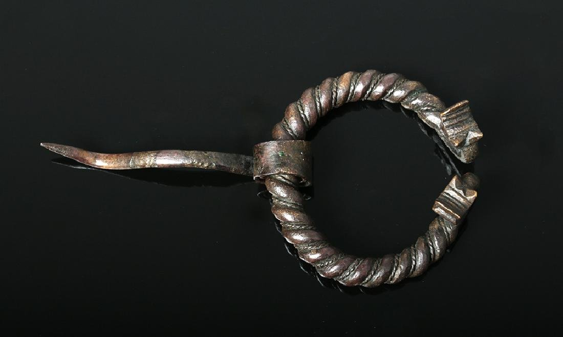 Viking Bronze Omega Brooch w/ Animal Heads - 2