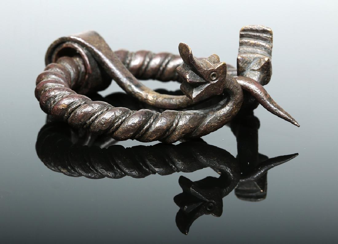 Viking Bronze Omega Brooch w/ Animal Heads - 3