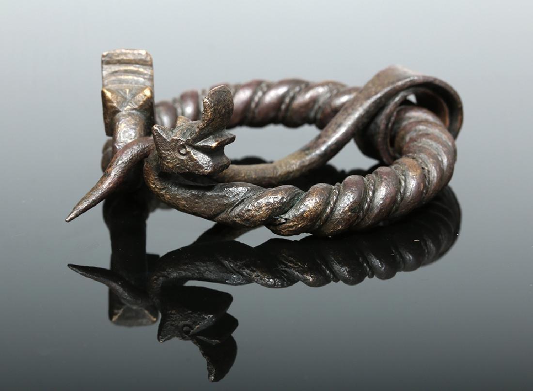 Viking Bronze Omega Brooch w/ Animal Heads - 4