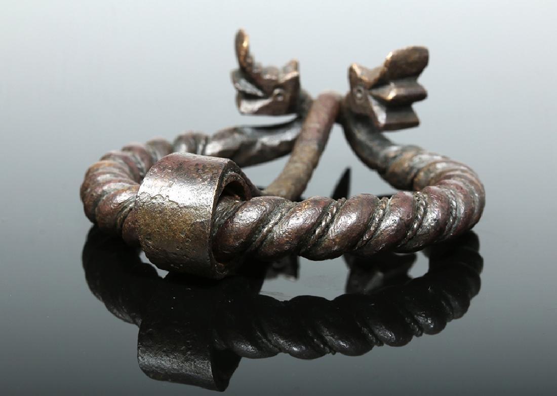 Viking Bronze Omega Brooch w/ Animal Heads - 5
