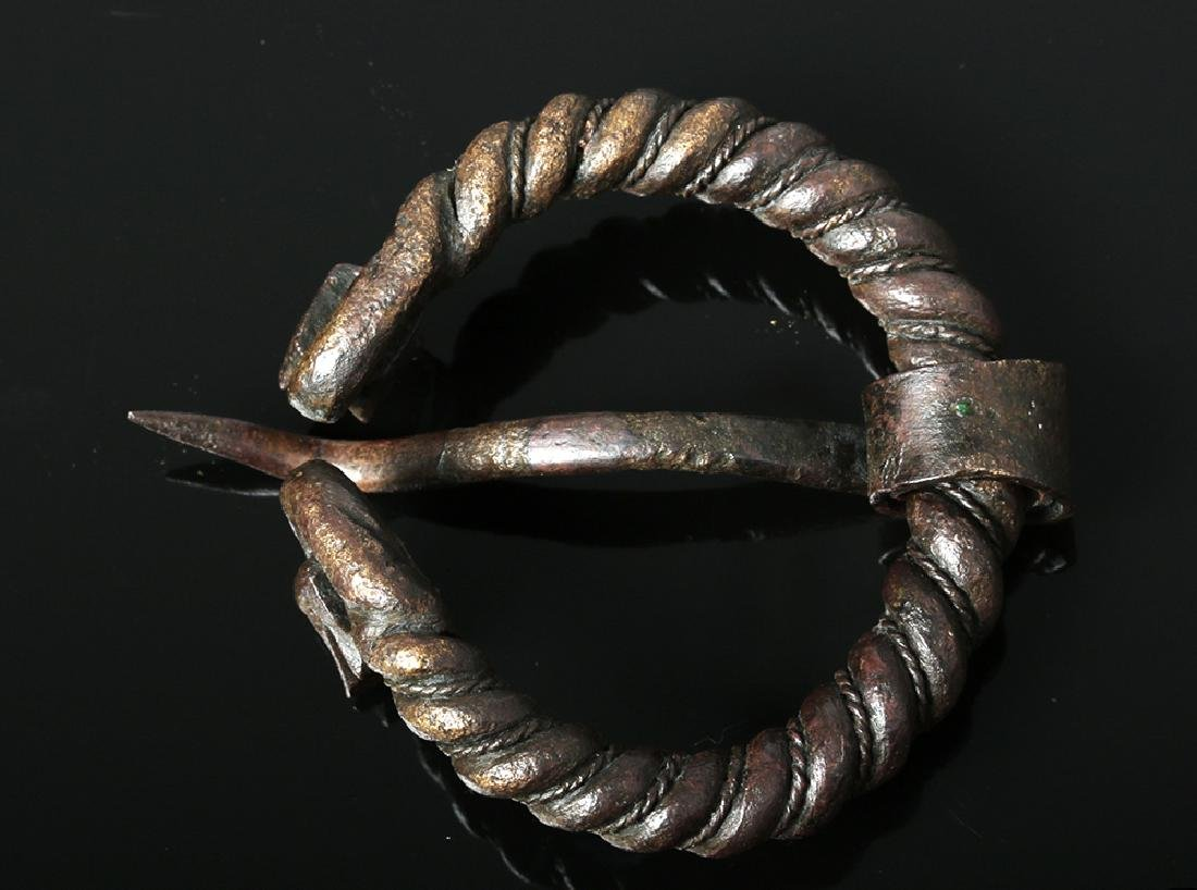 Viking Bronze Omega Brooch w/ Animal Heads - 6