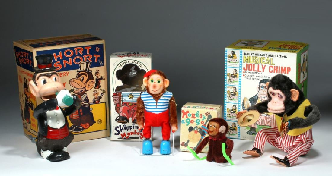 4 Vintage Monkey Toys w/ Original Boxes, ex-Hollywood