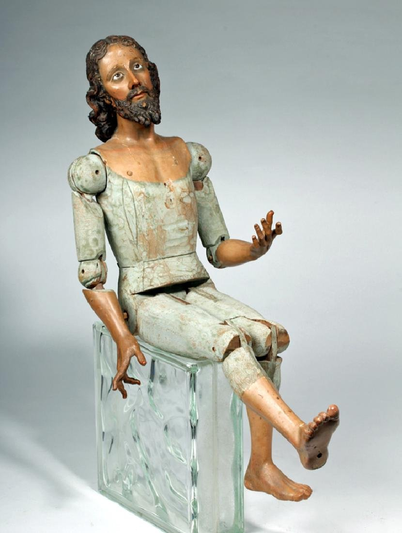 19th C. Mexican Large Wooden Articulated Jesus