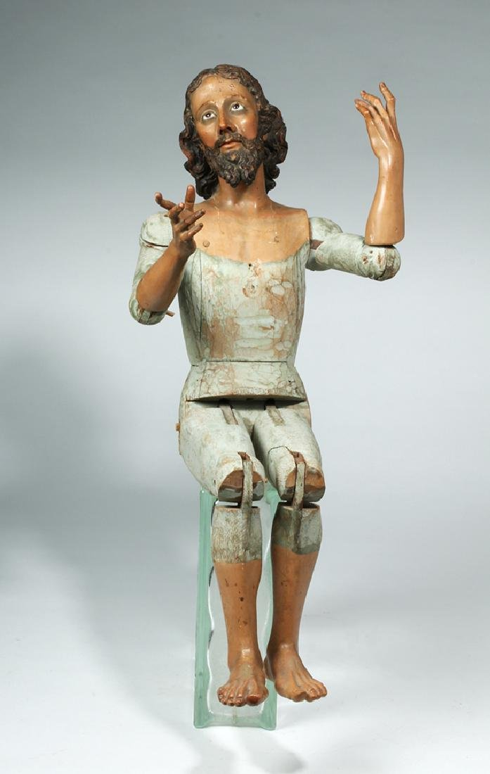 19th C. Mexican Large Wooden Articulated Jesus - 2
