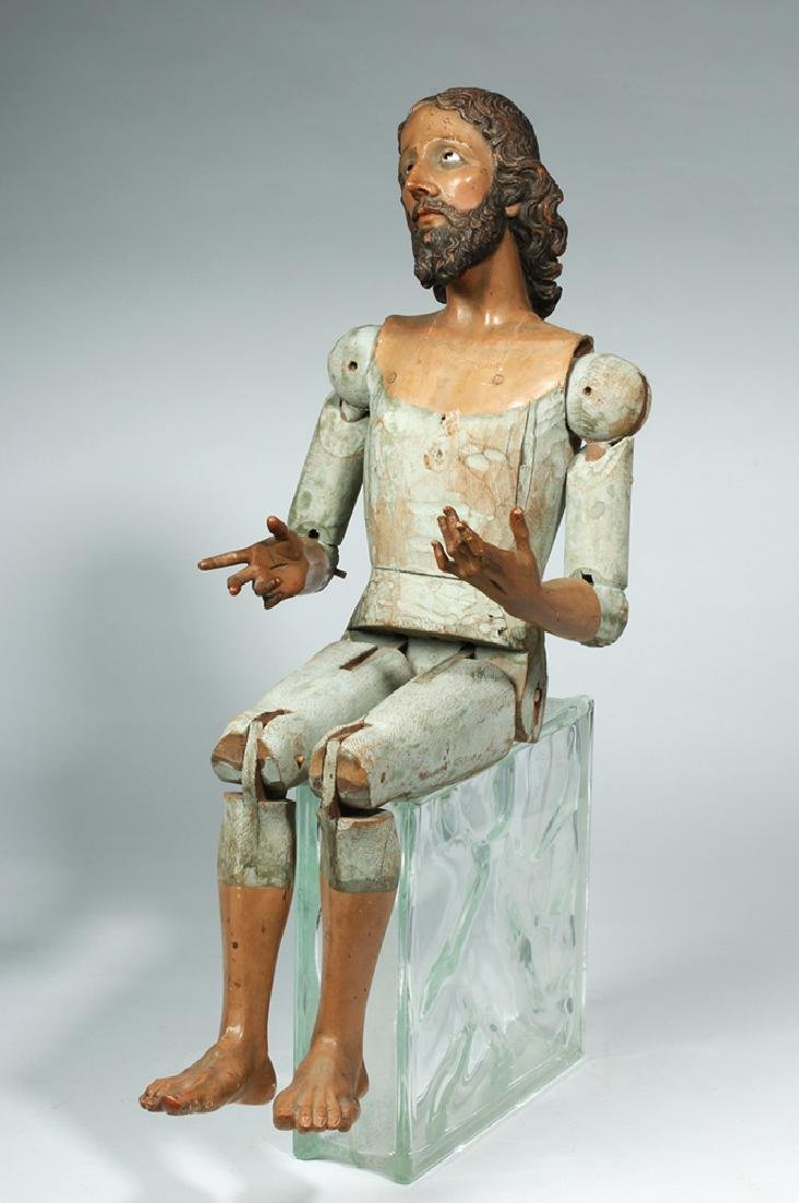 19th C. Mexican Large Wooden Articulated Jesus - 3