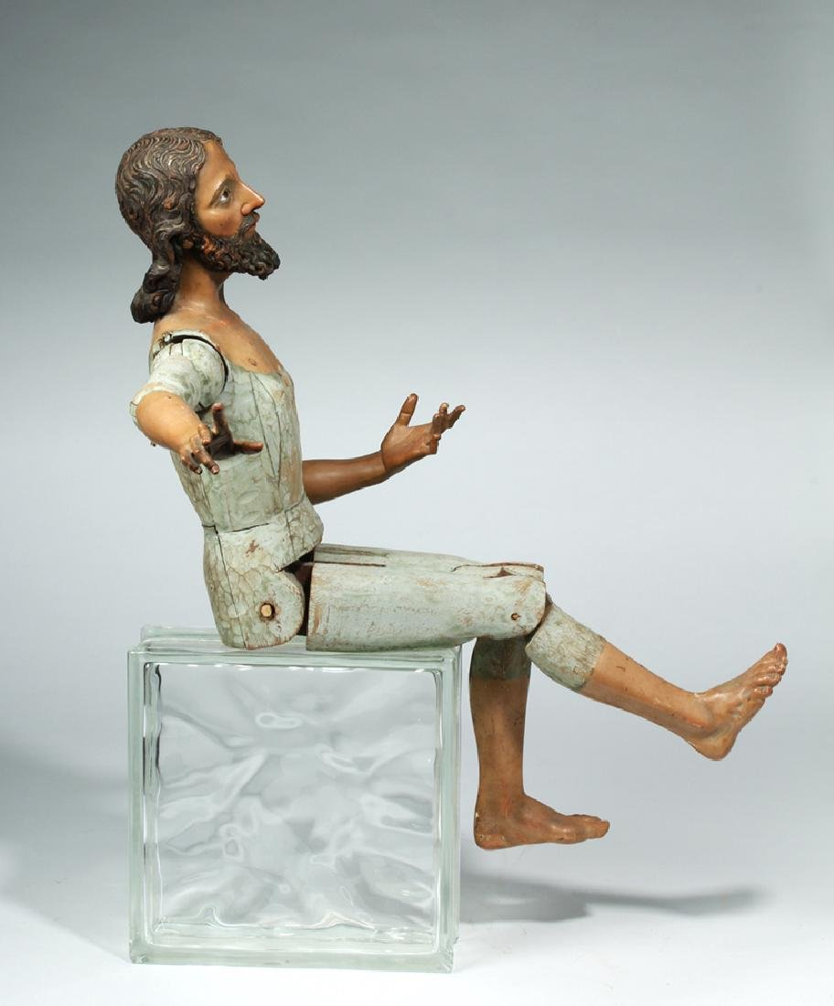 19th C. Mexican Large Wooden Articulated Jesus - 4