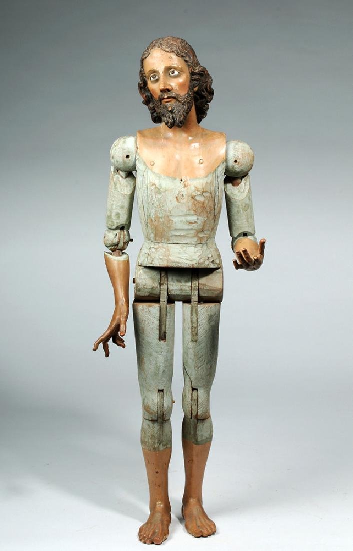 19th C. Mexican Large Wooden Articulated Jesus - 5