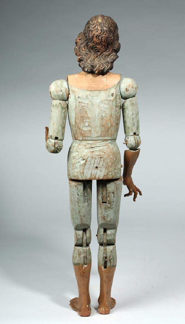 19th C. Mexican Large Wooden Articulated Jesus - 7
