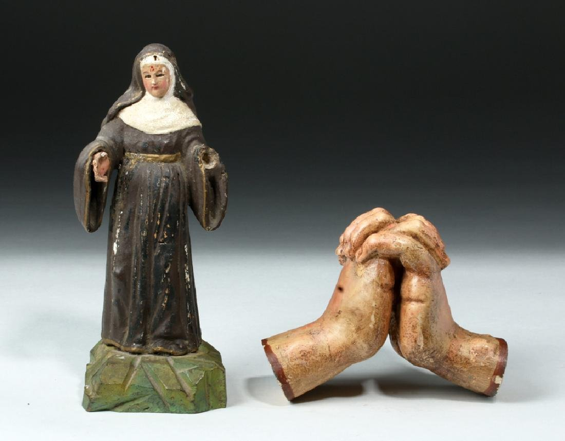 Pair of 19th C. Mexican Wooden Objects - Santo & Hands