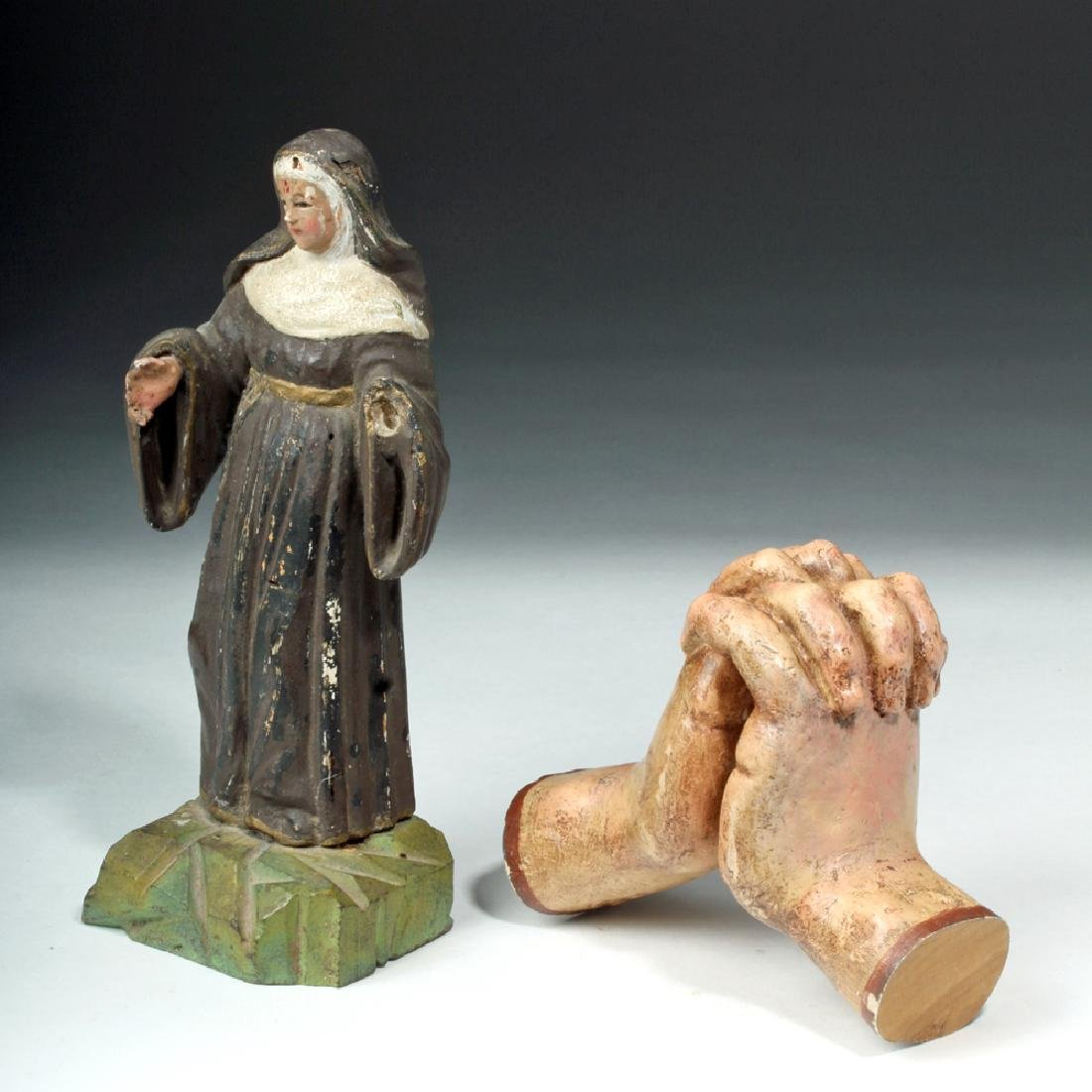 Pair of 19th C. Mexican Wooden Objects - Santo & Hands - 2