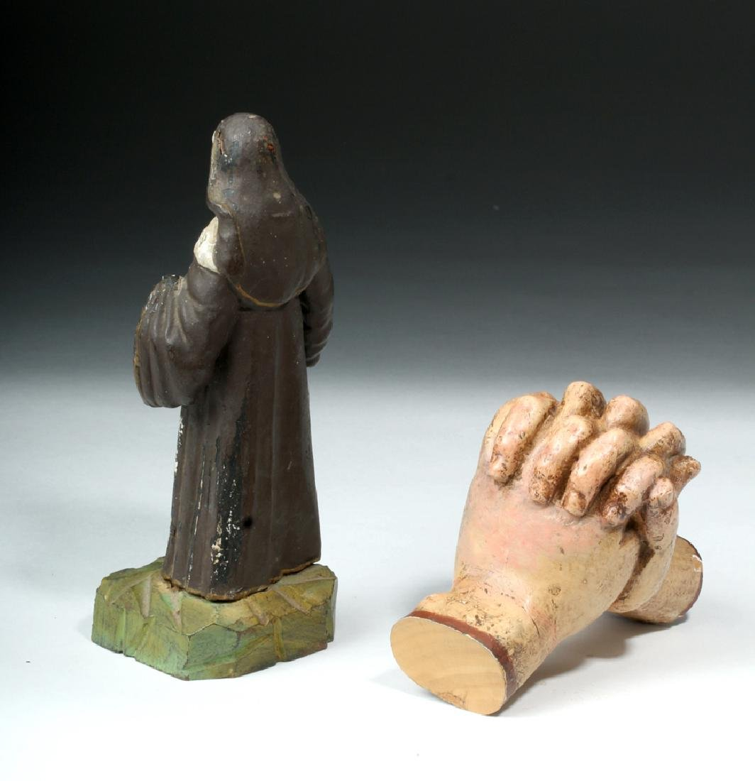 Pair of 19th C. Mexican Wooden Objects - Santo & Hands - 3