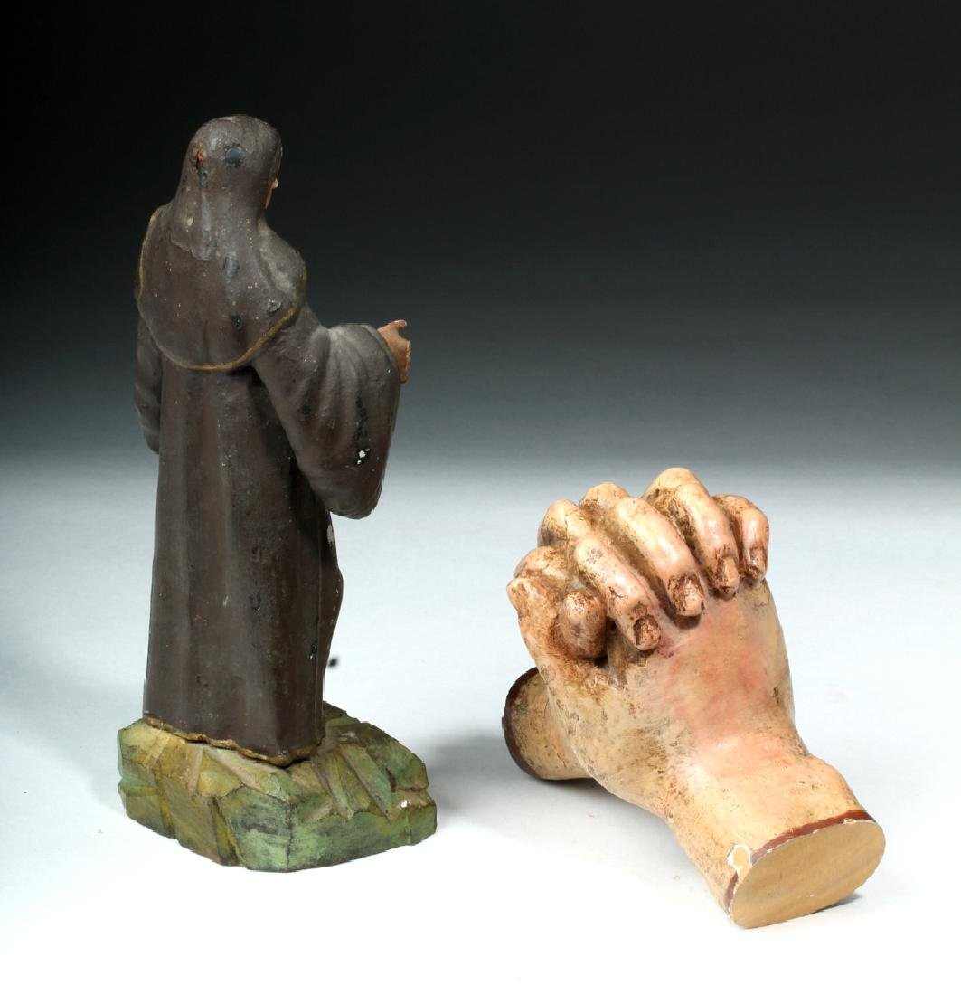 Pair of 19th C. Mexican Wooden Objects - Santo & Hands - 4