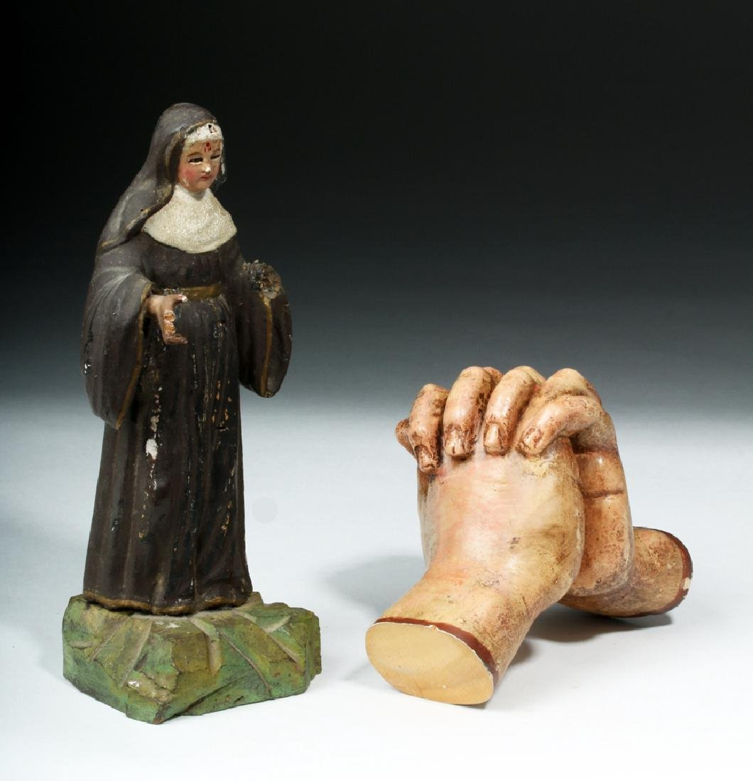 Pair of 19th C. Mexican Wooden Objects - Santo & Hands - 5