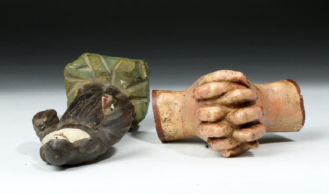 Pair of 19th C. Mexican Wooden Objects - Santo & Hands - 7