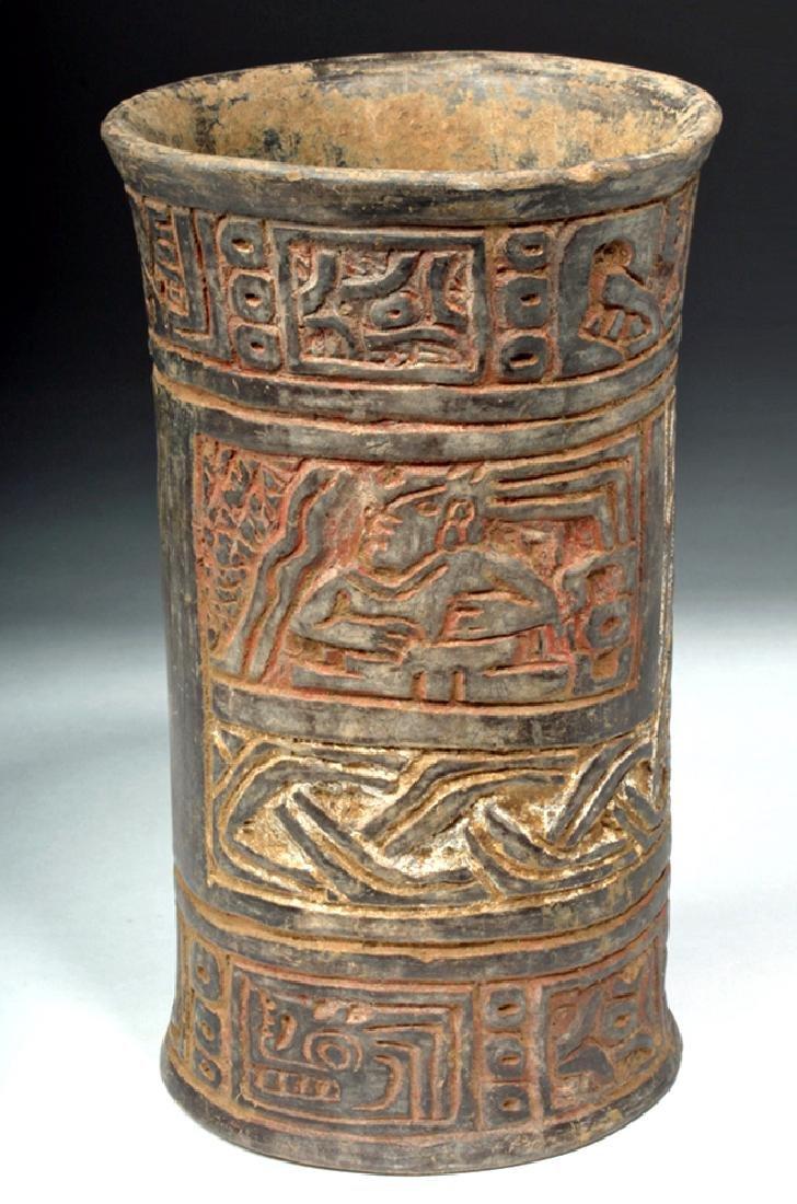 Mayan Tiquisate Carved Blackware Cylinder