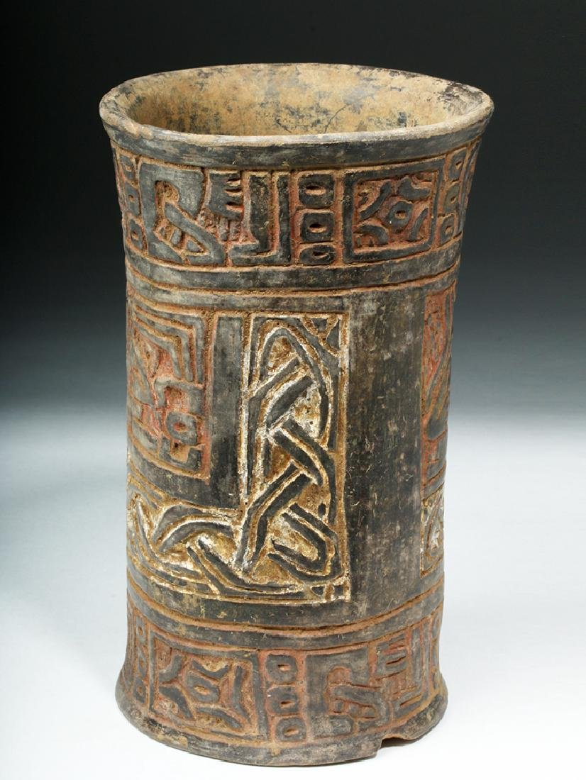 Mayan Tiquisate Carved Blackware Cylinder - 2