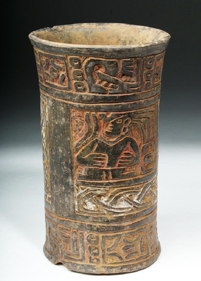 Mayan Tiquisate Carved Blackware Cylinder - 3