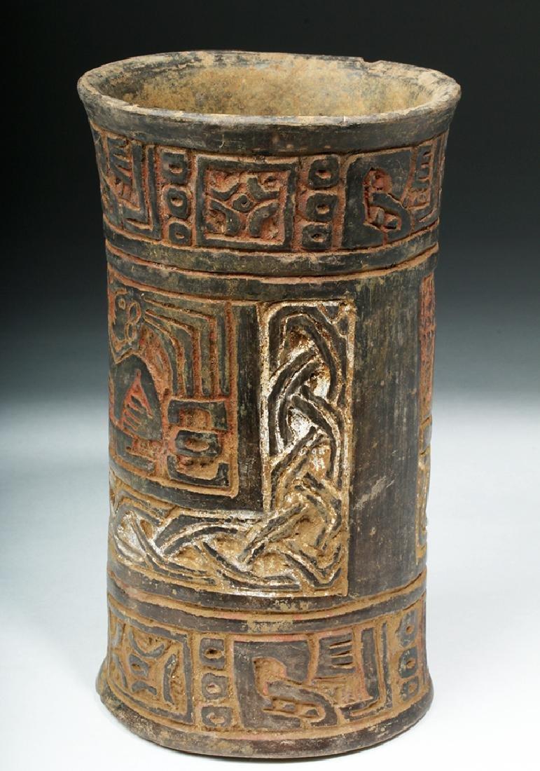 Mayan Tiquisate Carved Blackware Cylinder - 4