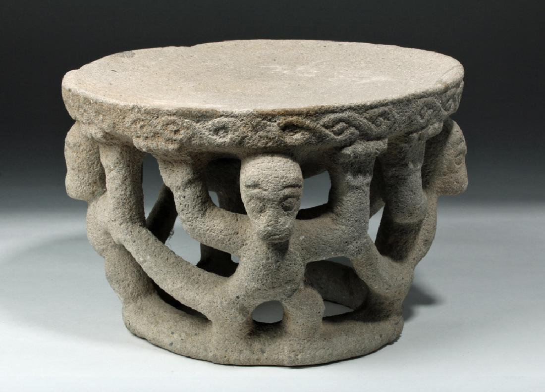 Costa Rican Stone Ceremonial Table w/ Monkey Supports