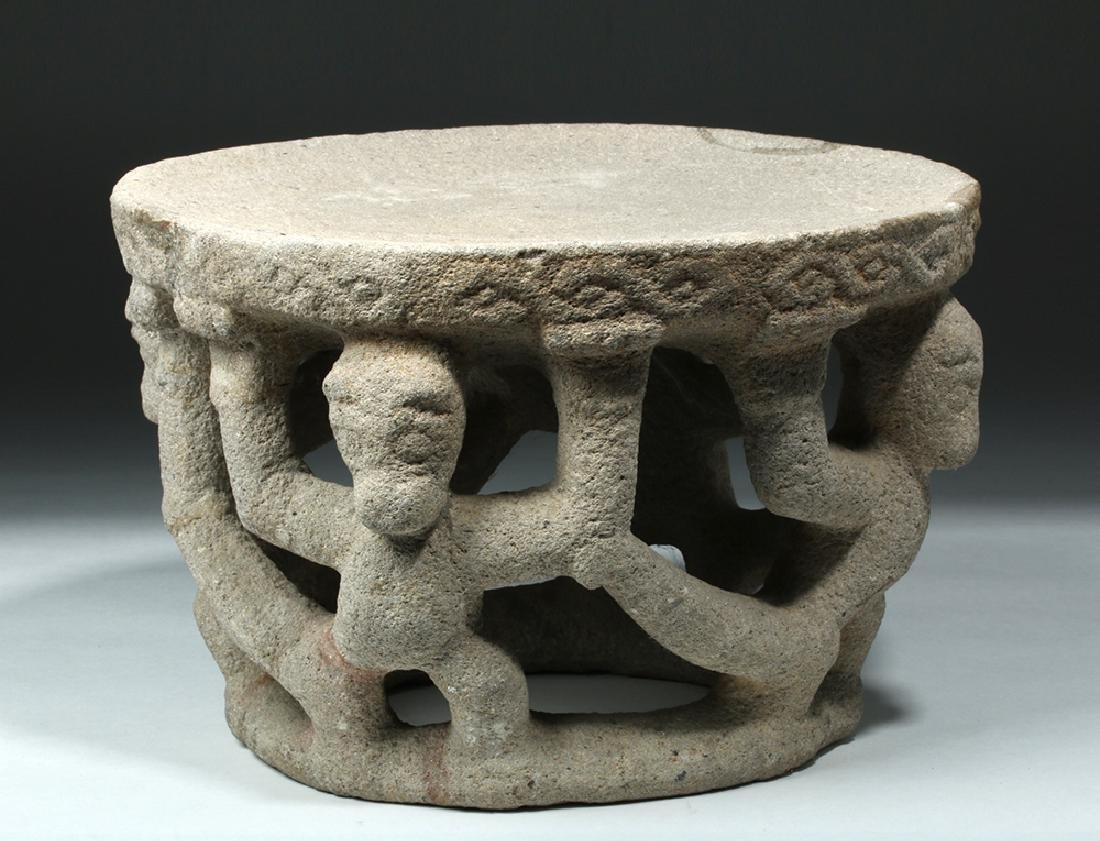 Costa Rican Stone Ceremonial Table w/ Monkey Supports - 2