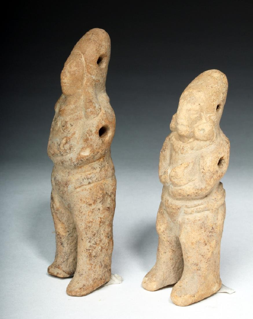 Two Mayan Jaina Island Molded Pottery Figures