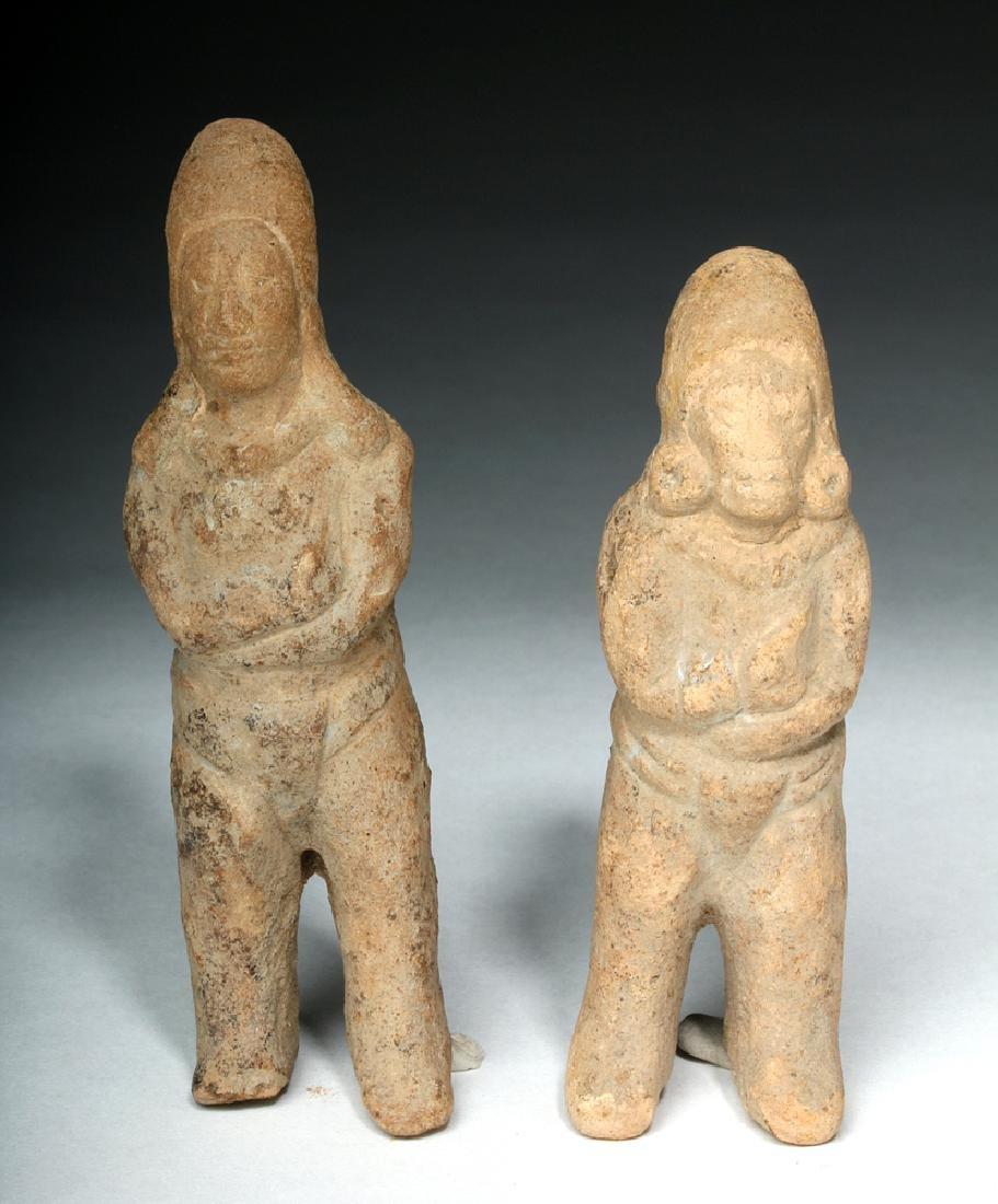 Two Mayan Jaina Island Molded Pottery Figures - 2