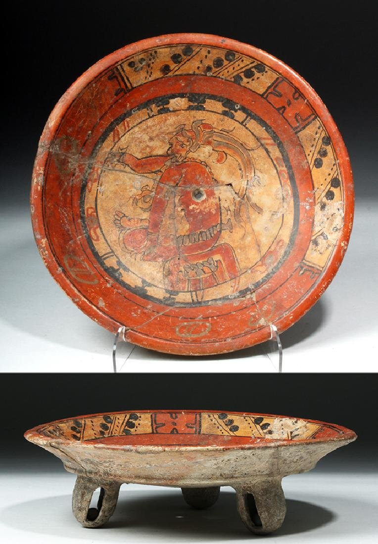 Mayan Polychrome Rattle-Legged Tripod - Seated Lord