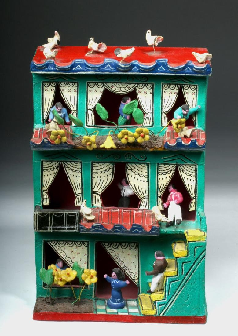 Mid 20th C. Amusing Mexican Painted Terracotta Casita - 2