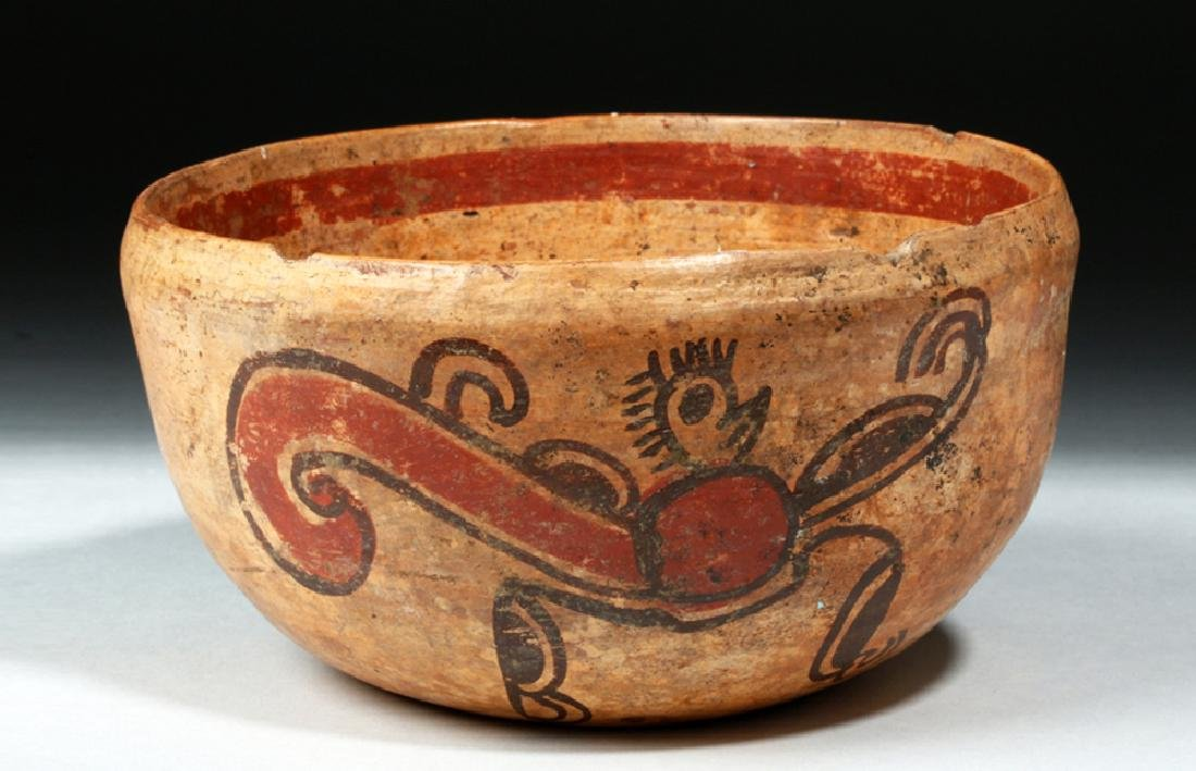 Unusual Mayan Pottery Bowl w/ Pair of Monkeys