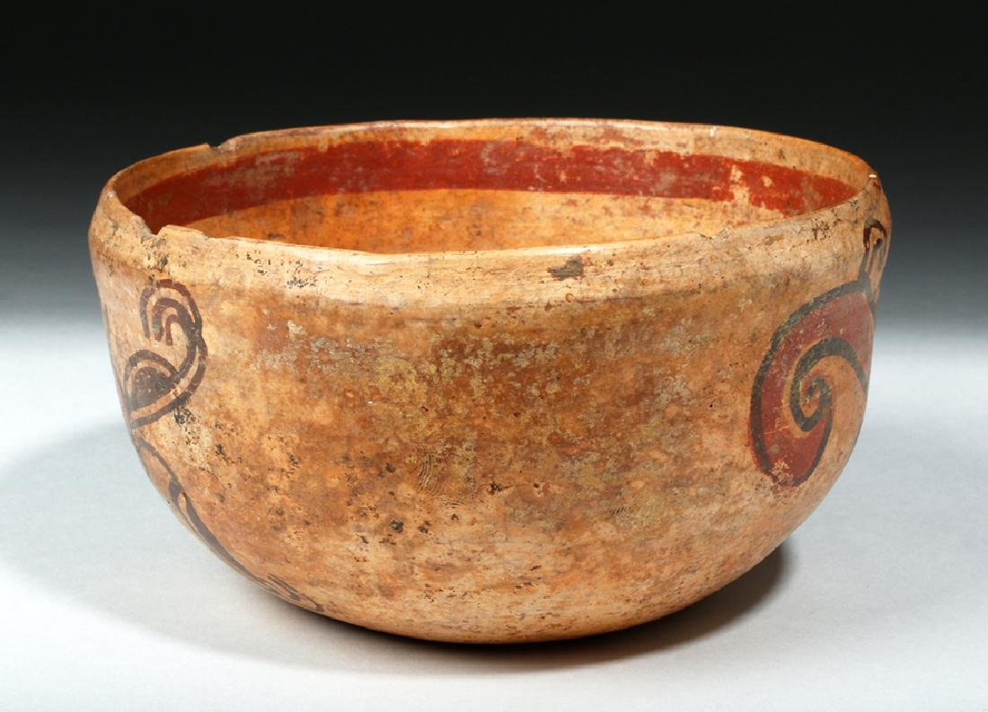 Unusual Mayan Pottery Bowl w/ Pair of Monkeys - 2