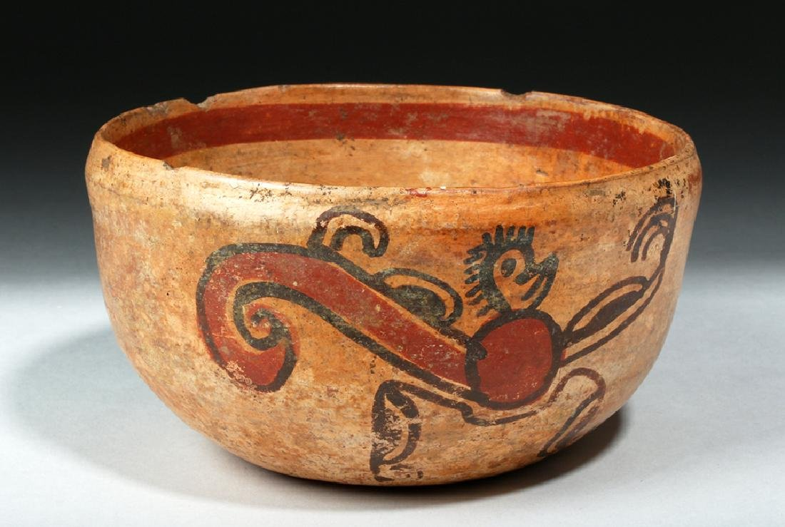 Unusual Mayan Pottery Bowl w/ Pair of Monkeys - 3