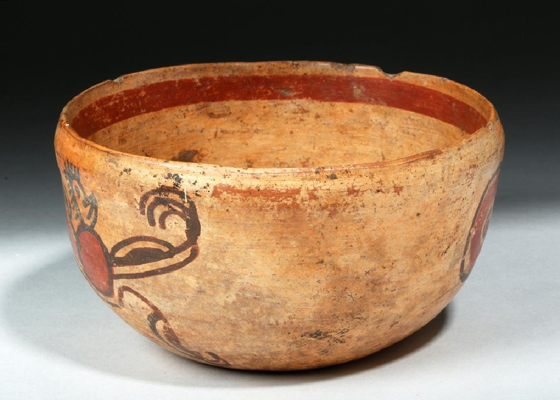 Unusual Mayan Pottery Bowl w/ Pair of Monkeys - 4