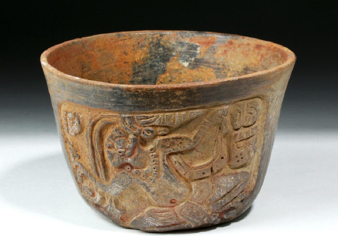 Mayan Esquintla Carved Brownware Bowl - Seated Lord