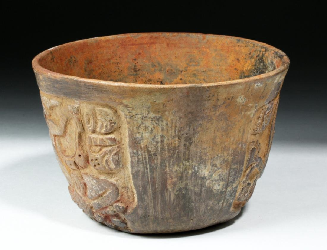 Mayan Esquintla Carved Brownware Bowl - Seated Lord - 2