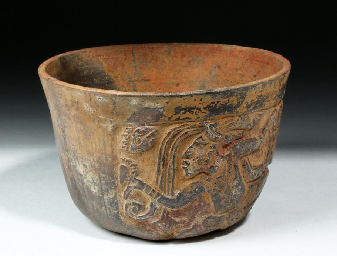 Mayan Esquintla Carved Brownware Bowl - Seated Lord - 3